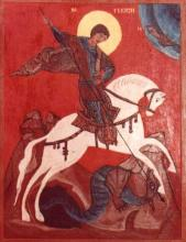 Sárkányölő Szent györgy / Méret: 24.5 cm x 31 cm / Technika : tempera, fatábla / ERLI MÁRIA TÜNDE FESTMÉNYE