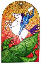Szent György megöli a sárkányt / 30X40cm / színesceruza verzió / amishael@gmail.com