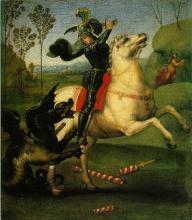 Szent György sárkánnyal (1505-1506) 28.5 x 21.5 olaj, Washingtoni Galéria / Raffaello Sanzio
