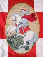 Sárkányölő Szent György képe a Szent György lovagrend zászlójára / Hudák Jánosné, hímző