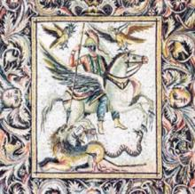 Szent György / mozaik / Palmyra? / talán ez lehet a Szent György legenda forrása is