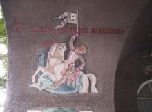 Szent György. A szegedi Hősök kapuja (Porta Heroum) freskója. Festette Aba-Novák Vilmos Stefán Henrik segédletével, 1937-ben.  Photo: Csanády, 2006