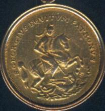 Szent György-tallér 14 dukát súlyú aranyverete az 1750-1780 közti időszakból, Körmöcbányáról.
